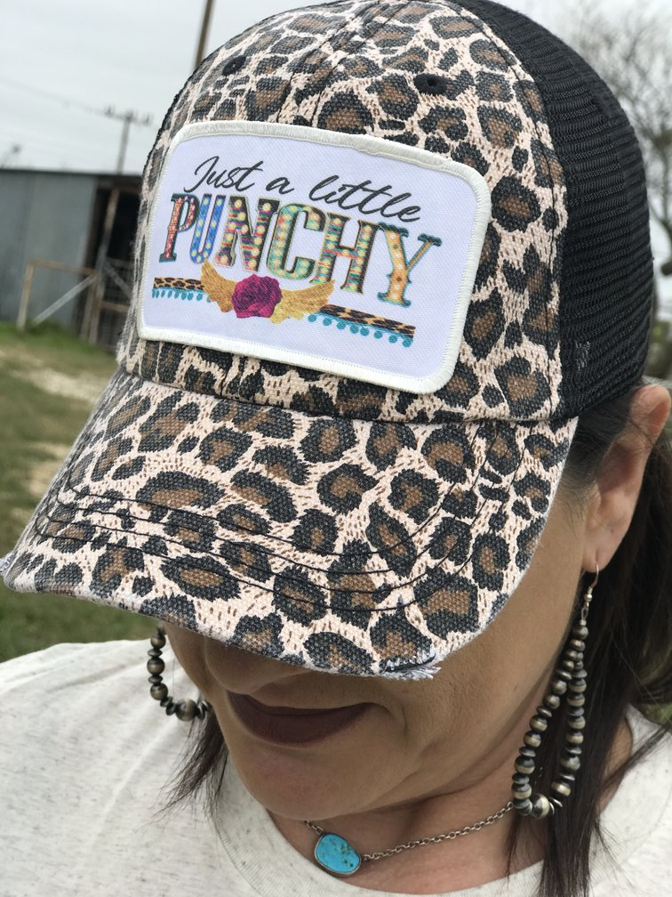 Create Your Own Distressed Black Leopard Trucker Hat