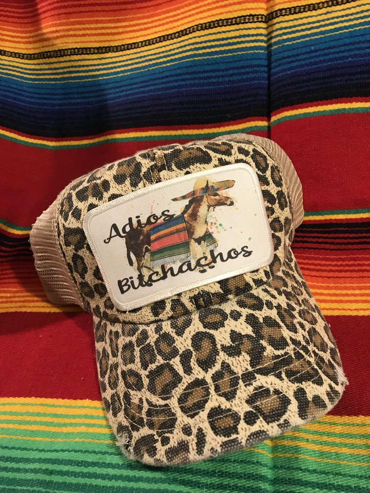 Create Your Own Distressed Tan Leopard Trucker Hat
